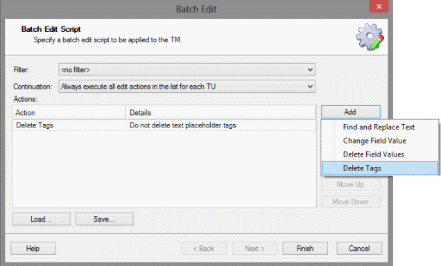 Studio's Batch Edit window with the Delete Tags option selected