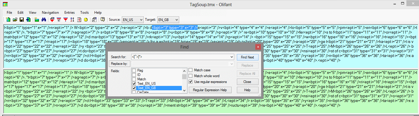Regex in Olifant to search for tags