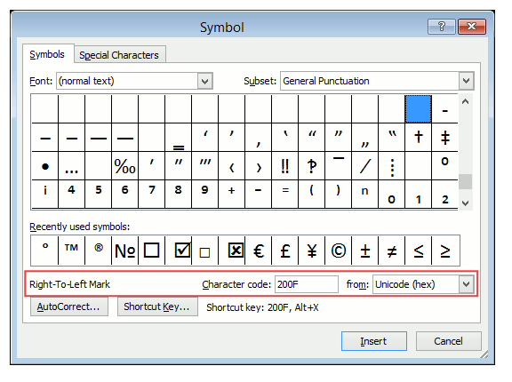 MS Word character map showing the RLM control character