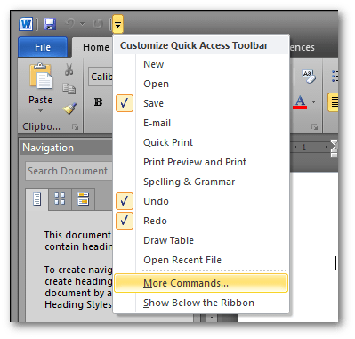 Accessing the More Commands menu to add commands to Microsoft Word
