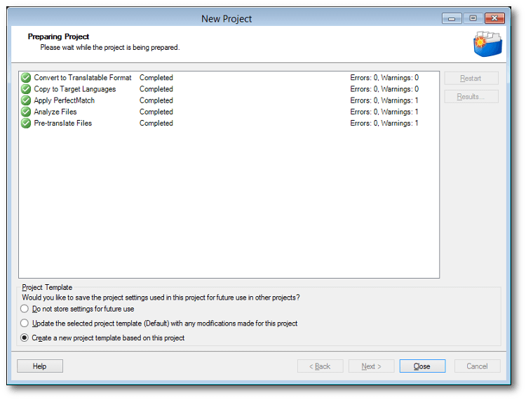 The Create a new project template dialog box