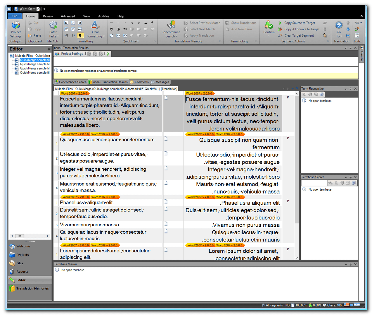 SDL Studio 2014 quickmerged files in the Editor window