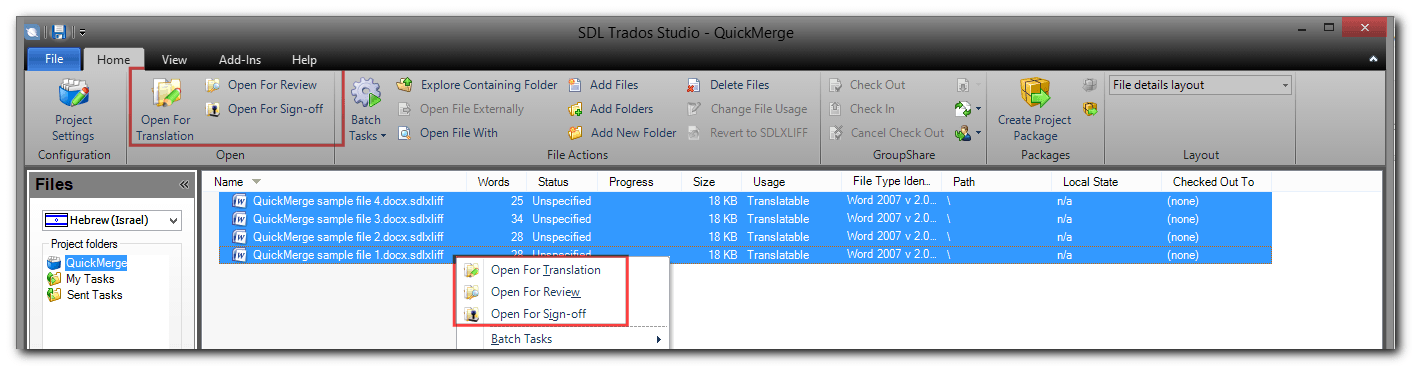 Selecting multiple files using SDL Studtio 2014 QuickMerge feature